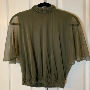 Hunter green blouse with open back